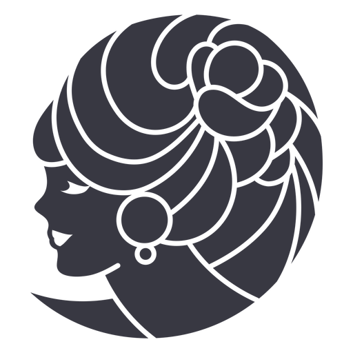 Hairstyle flower woman badge
