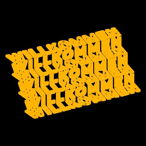 Willkommen text pattern badge