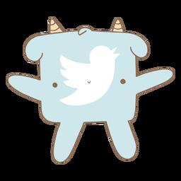 Cute twitter logo character