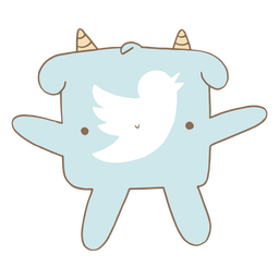 Lindo personaje de logotipo de twitter