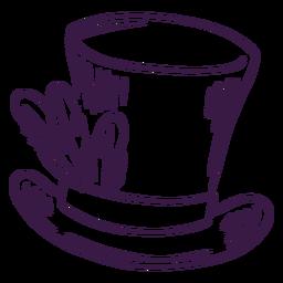 Sombrero de copa con plumas dibujadas a mano
