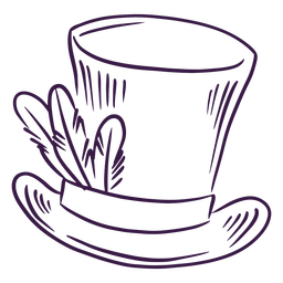 Top hat with feathers hand drawn