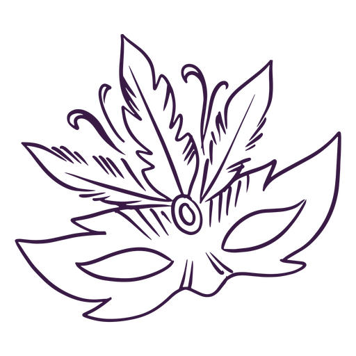 Mardi gras hand drawn mask with feathers Transparent PNG