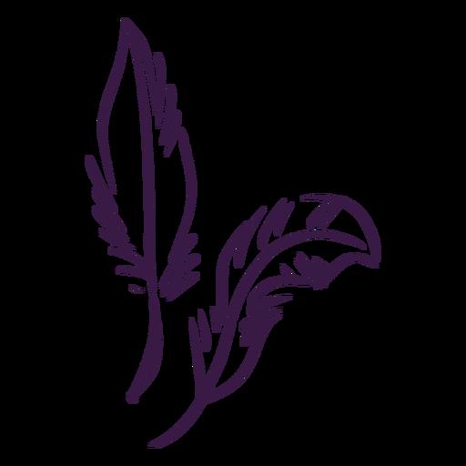 Hand gezeichnetes Paar Federn