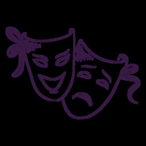 Máscaras de teatro desenhadas à mão
