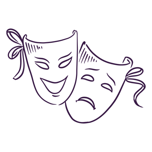 Máscaras de teatro dibujadas a mano