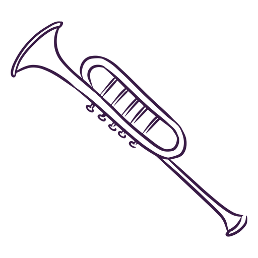 Trumpet instrument line art Transparent PNG