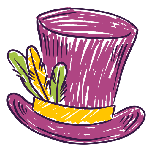 Cartola colorida desenhada à mão