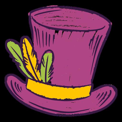Sombrero de copa coloreado dibujado a mano