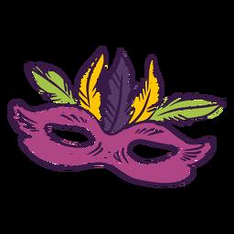 Mardi gras colored hand drawn mask