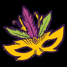 Doodle de máscara de plumas de carnaval