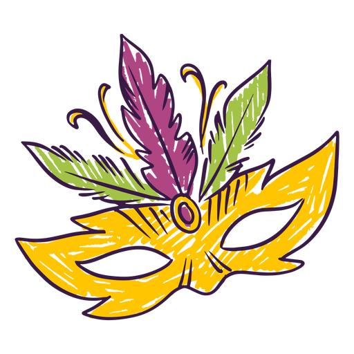 Carnival feather mask doodle Transparent PNG