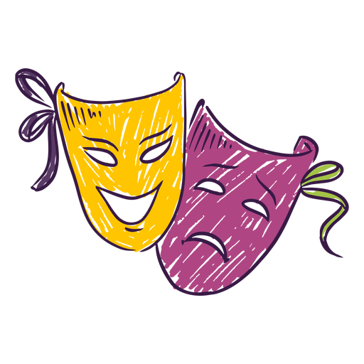 Hand drawn colored theater masks Transparent PNG