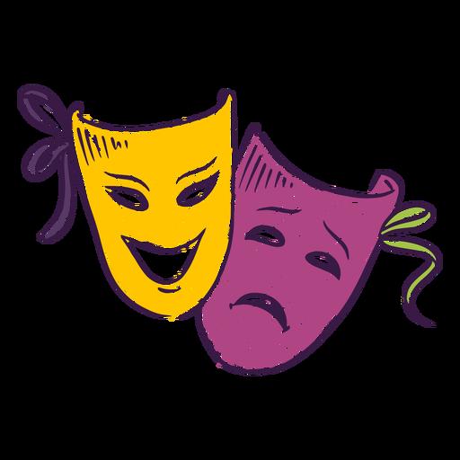 Máscaras de teatro de colores dibujadas a mano