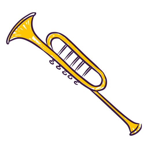 Hand drawn colored trumpet Transparent PNG