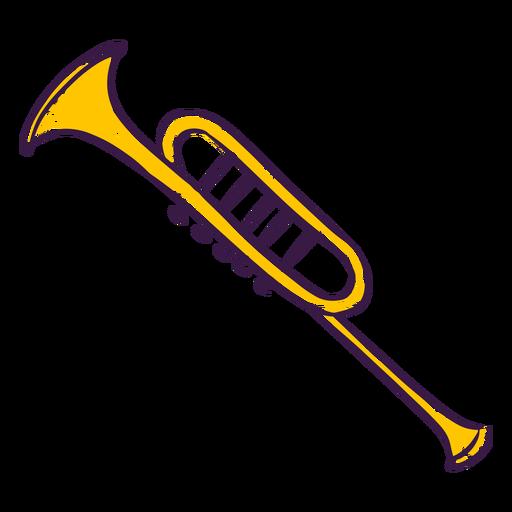 Trompeta de colores dibujados a mano