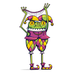 Mardi gras jester frog cartoon
