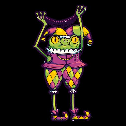 Mardi gras jester frog cartoon Transparent PNG