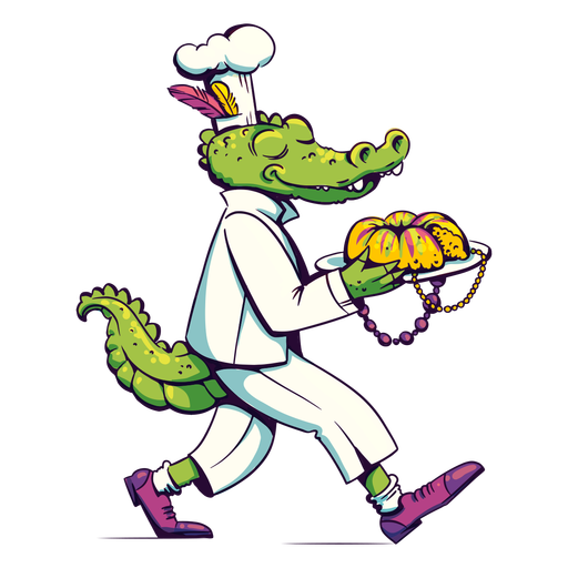 Mardi gras alligator chef Transparent PNG