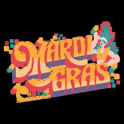 Mardi gras lettering badge
