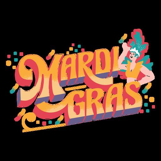 Mardi gras lettering badge  Transparent PNG