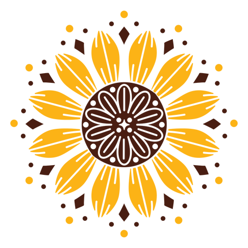 Sunflower mandala design Transparent PNG