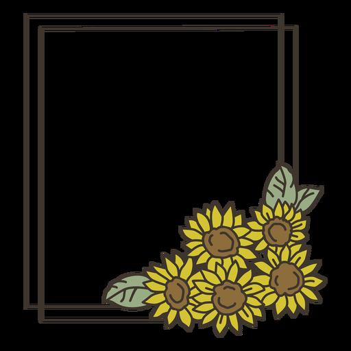 Sunflower frame portrait hand drawn