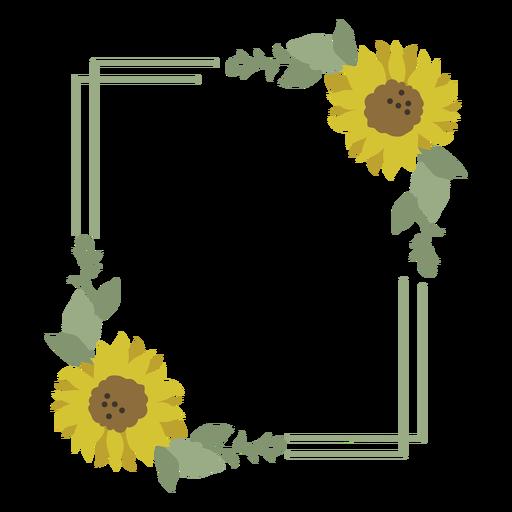 Sunflower floral frame Transparent PNG