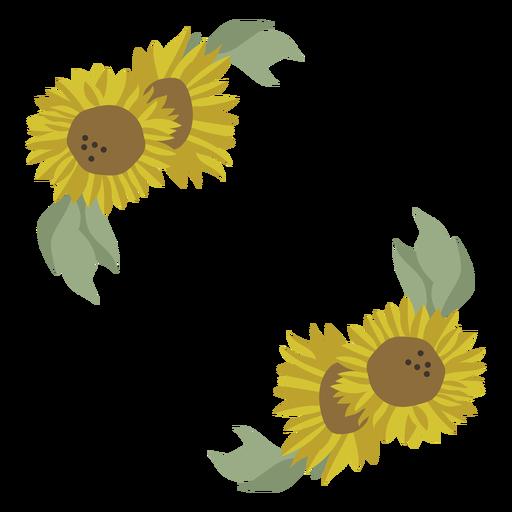Sunflower frame decoration floral Transparent PNG