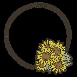 Sunflower doodle circle frame