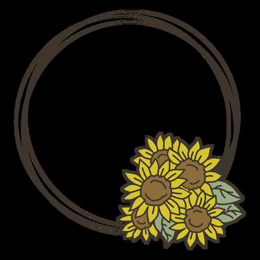 Girassol doodle círculo quadro