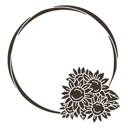 Sunflower circle frame cut-out Transparent PNG