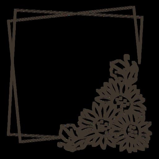 Sunflower frame portrait decoration Transparent PNG