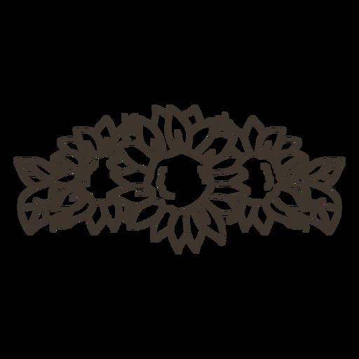 Arte de línea de tiara de girasol