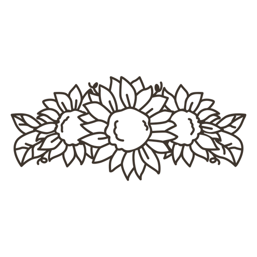 Sunflower tiara line art