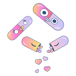 Pills filled with hearts gradient