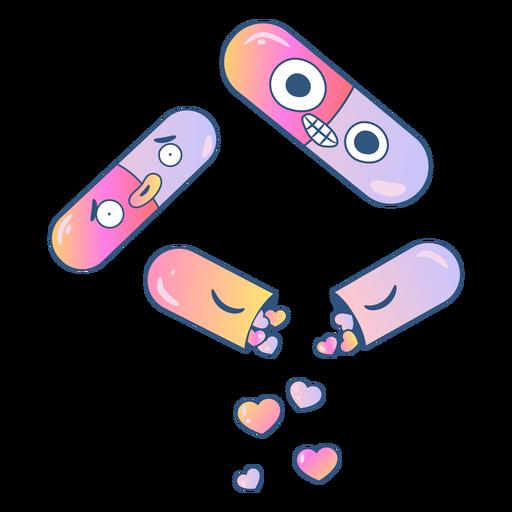 Comprimidos cheios de gradiente de corações