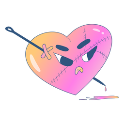 Angry gradient heart with pin across it