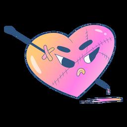 Corazón degradado enojado con alfiler a través de él