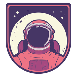 Cabeza de astronauta con insignia de luna.