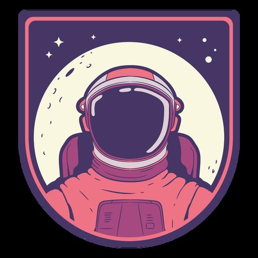 Cabeça de astronauta com emblema da lua