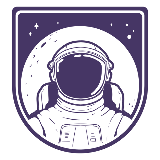 Filled stroke astronaut head with moon