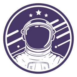 Space astronaut cut-out badge