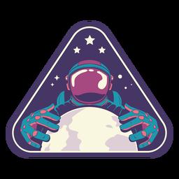 Astronaut holding earth semi flat badge