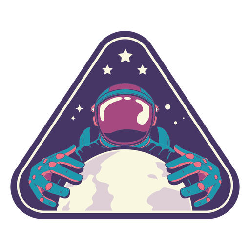 Astronauta con insignia de tierra semi plana