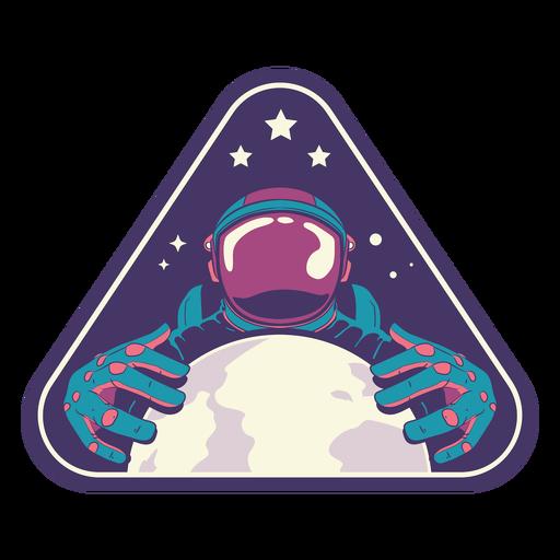 Astronauta segurando um crachá semi plano