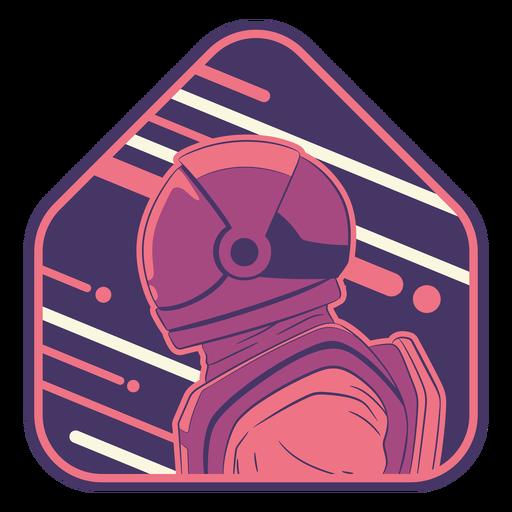 Profile semi flat astronaut head badge
