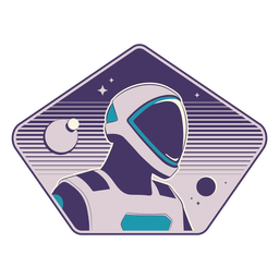 Futurist astronaut head badge