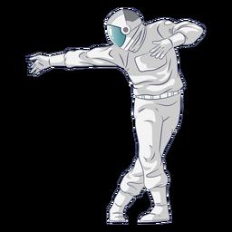 Personaje de astronauta bailando semi plano.
