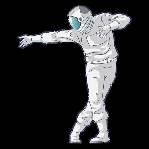 Astronauta semi-plano dançando